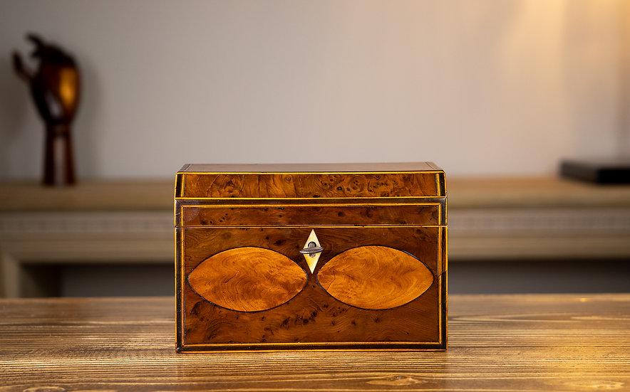 Georgian Burr Yew Tea Caddy 1800 SOLD