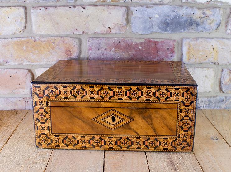Figured Walnut Tunbridge Ware Table Box c.1870 SOLD