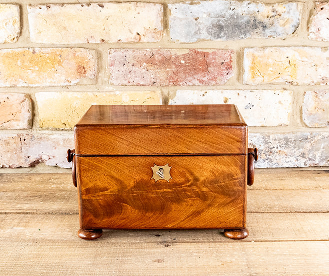 Flamed Mahogany Twin Tea Caddy 1830 SOLD