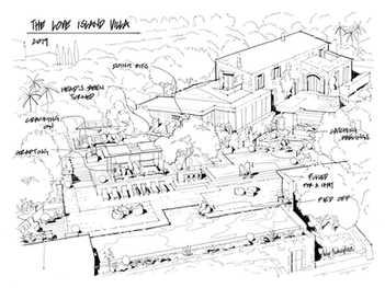 Love Island Villa Print Architectural Il
