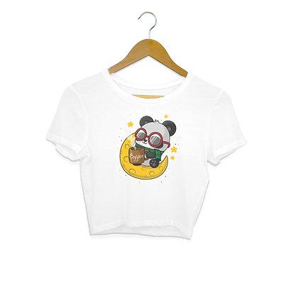 Hashed Moon Panda Crop Top