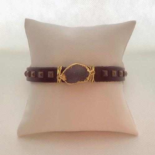 Leather Buckle Bracelet With Druzy