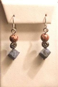 Wood and Sodalite Earrings