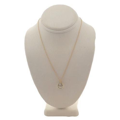 Gold Crystal Quartz Teardrop Necklace