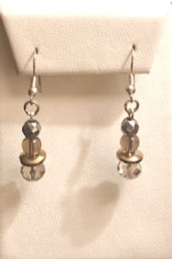 Smokey Quartz & Crystal Earrings