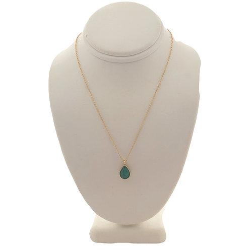 Gold Emerald Teardrop Necklace