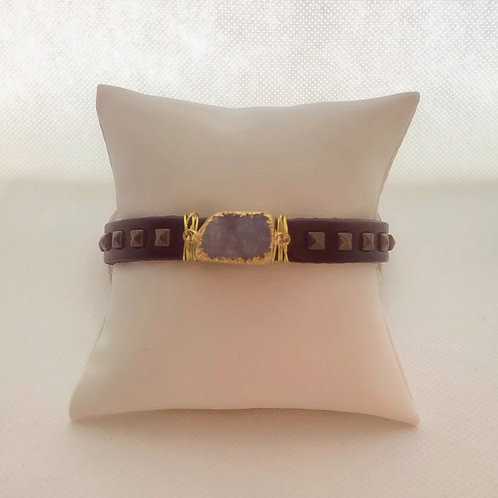 Leather Buckle Bracelet With Druzy