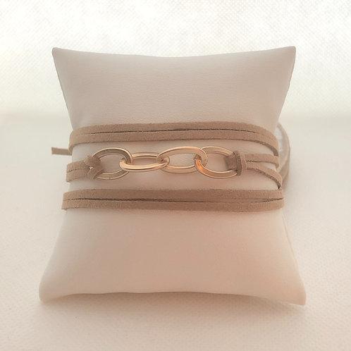 Faux Suede Bracelet/Choker With Links