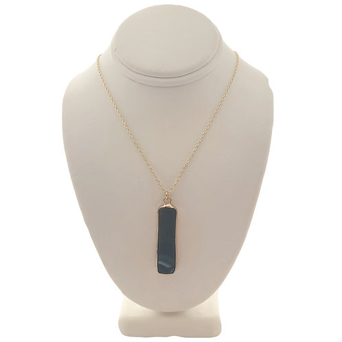 Gold Gemstone Bar Necklace