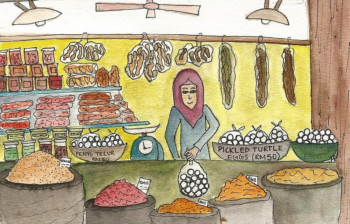 A turtle egg seller