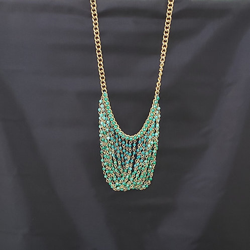 Blue, Green & Gold Tone Necklace