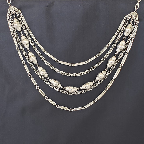 5 Layer Silver Tone Necklace