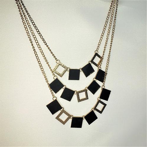 Gold Tone & Black triple layer necklace