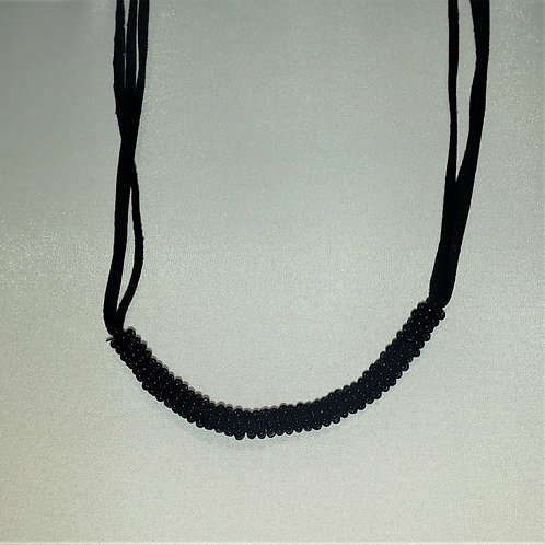 Black bead roll on suede band