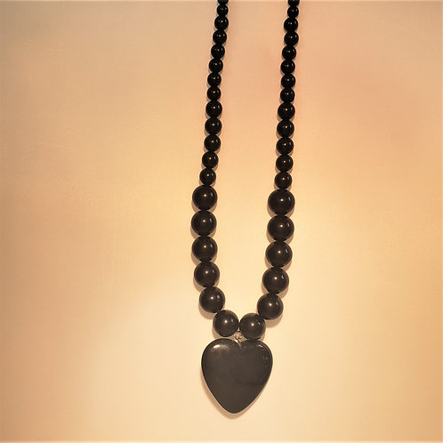 Black bead necklace with large heart