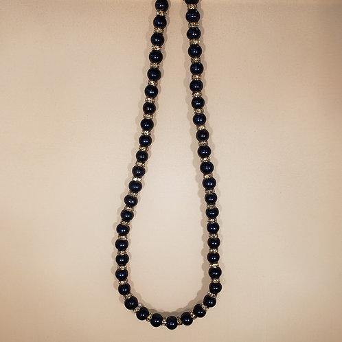 Blue & Silver Tone Rhinestone Necklace