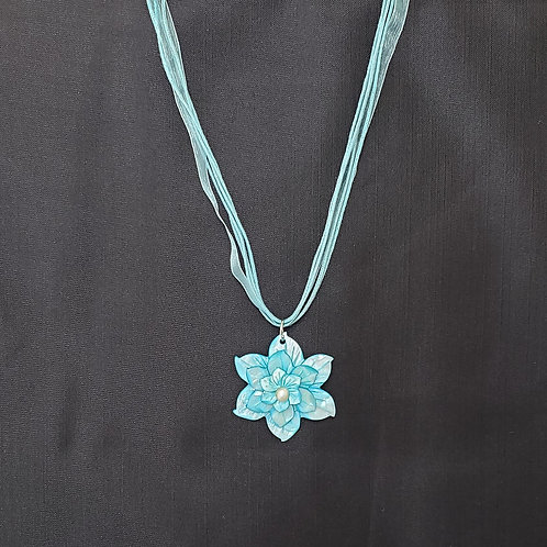 Light Blue Mother of Pearl Flower Necklace