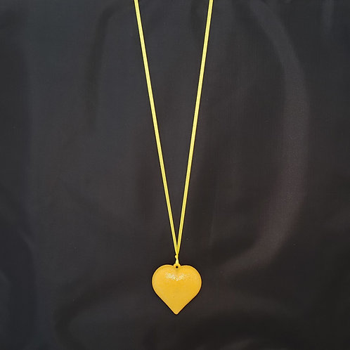 Sparkly Yellow Heart Necklace