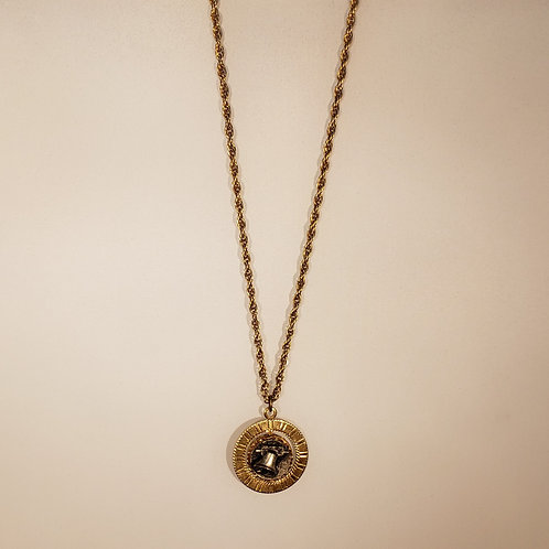 Gold Tone Liberty Bell Necklace