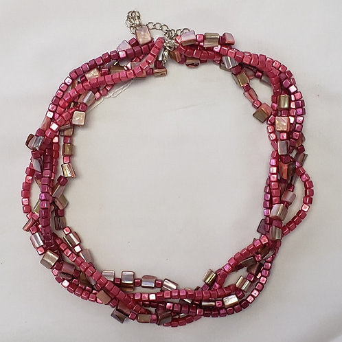 Dark pink and opal tone 5 layer necklace