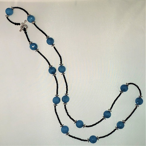 Silver Tone, Black & Blue faceted bead necklace