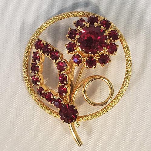 Deep red flower pin