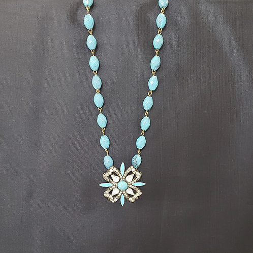Teal and Rhinestone Flower Necklace