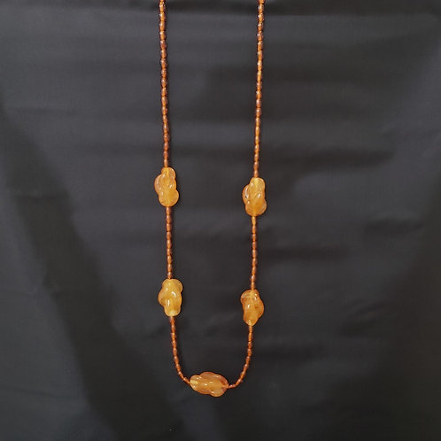 Amber Tone Bead Necklace