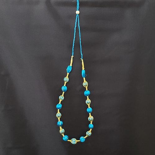 Blue & Gold Silk Thread Bead Necklack