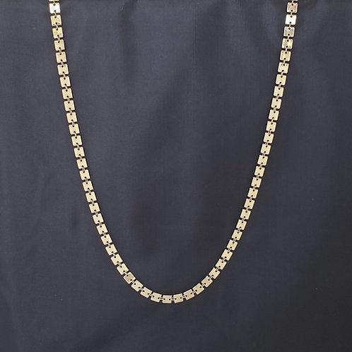 Gold Tone Square Chain Necklace