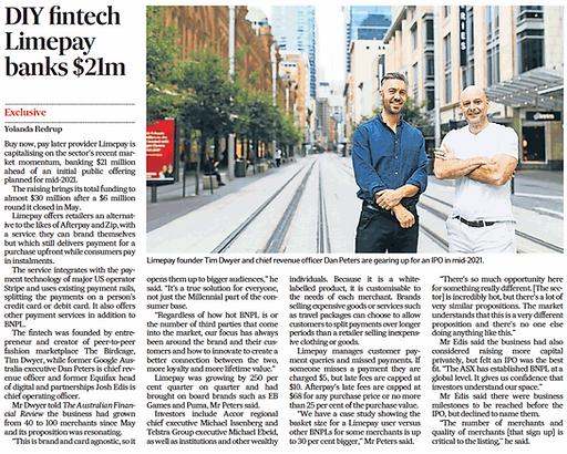 Australian Financial Review Article, DIY Fintech LImepay banks $21m