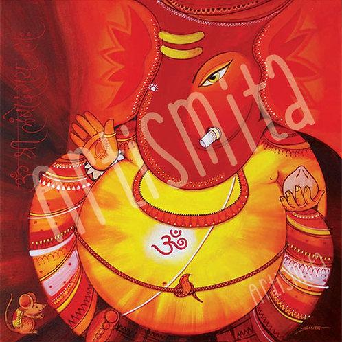 Lambodar - Large Belly Ganesha - Canvas Print