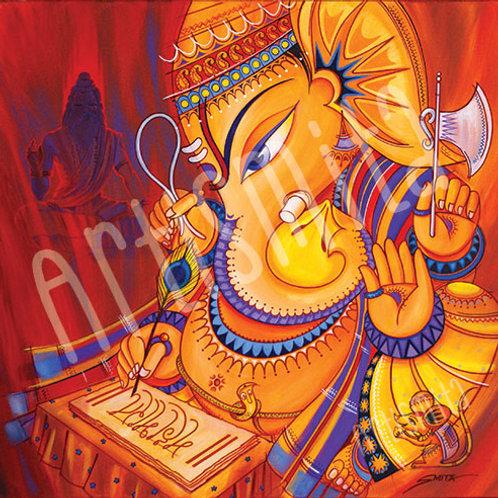 Ganesha Writing Mahabharata - Canvas Print