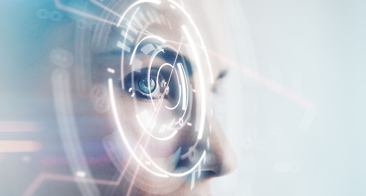 A woman looking through technology visualisation