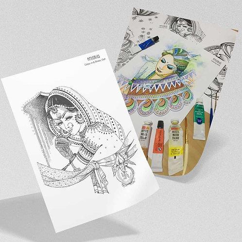 The Bride - Coluring-in Card - Saree & The Feminine