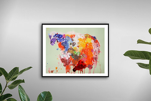 Coopworth The Colourful Sheep - Original Acrycycle Painting