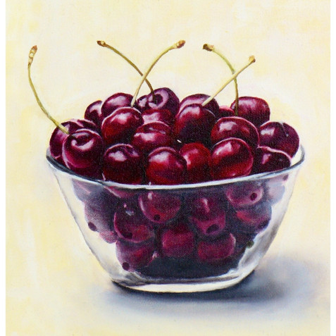 Cherries in Glass Bowl