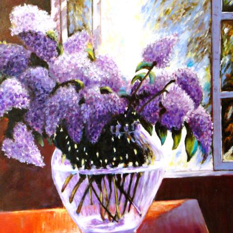 Lilacs in Glass Vase