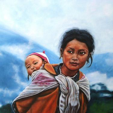 Tibetan mother and baby