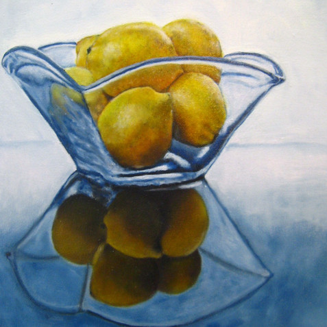 Lemons in Glass Bowl
