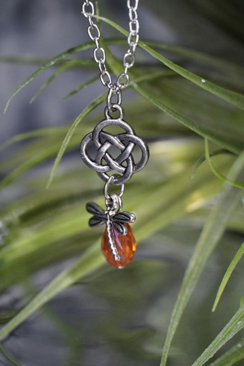 Dragonfly Celtic Knot Amber Necklace