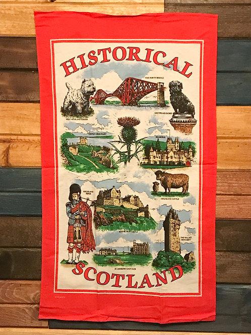Red Historical Scotland Tea Towel