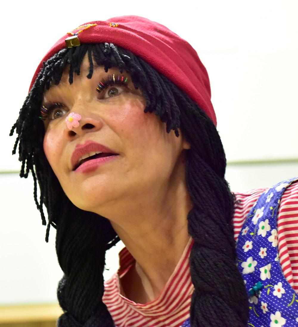Michelle Thrush performs Majika the healing clown