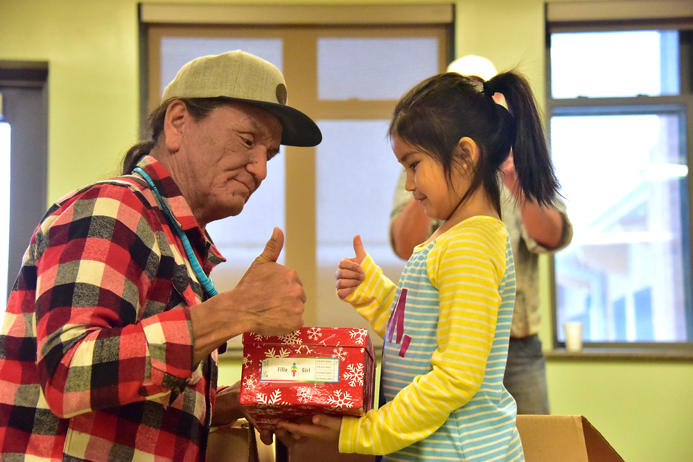 Duane Howard gets thumbs up for shoebox gift!