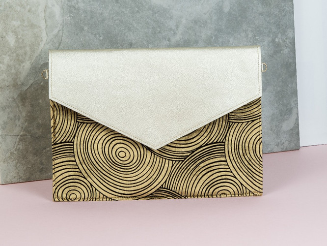 Gold Leather Clutch Gold Ripple