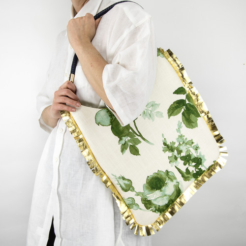 Parchment Tote Emerald Rose