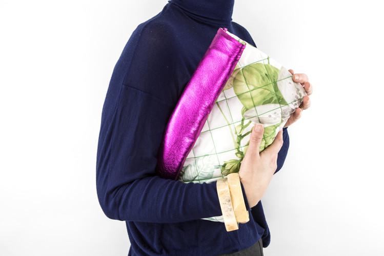 Padded Roll Leather Bag Fuchsia