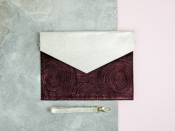 Gold Leather Clutch Aster Ripple