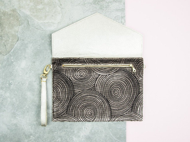 Gold Leather Clutch Mole Ripple