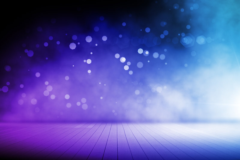 Abstract blurry blue stage interior with
